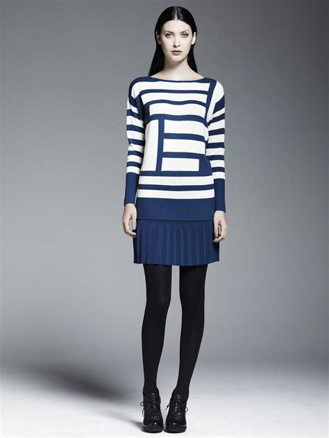 asymmetrical striped pullover sweater 68 pleated skirt