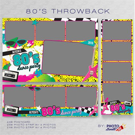 photo booth template psd 80 s throwback neon photoshop psd files