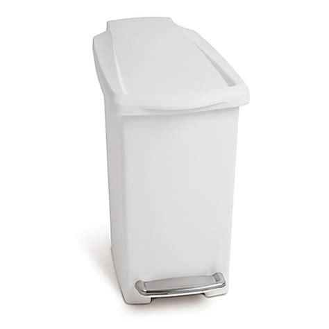 simplehuman bathroom trash can simplehuman 174 slim step 10 liter trash can in white bed