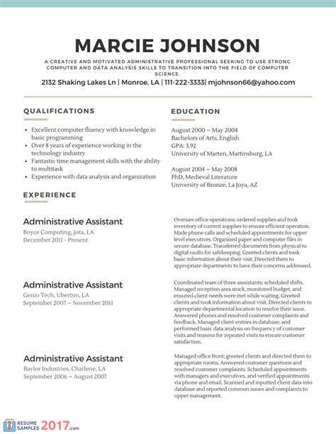 Successful Career Change Resume Samples   Resume Samples 2017
