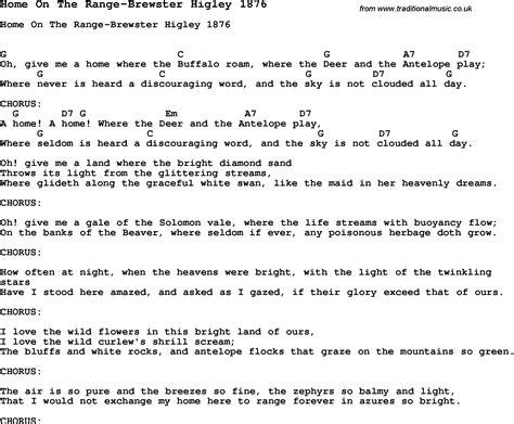 printable lyrics home on the range summer c song home on the range brewster higley 1876