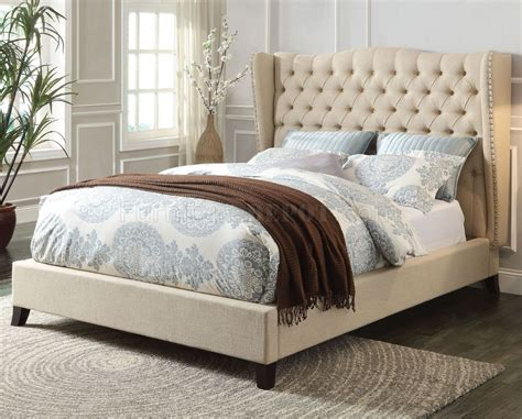 Beige Upholstered Bed by 20650 Upholstered Bed In Beige Fabric By Acme