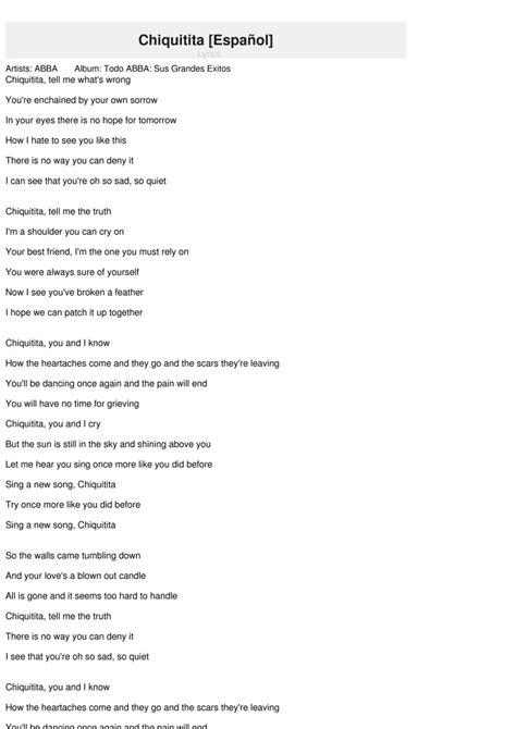 letras de abba letras de canciones de abba letras de chiquitita spanish chiquitita espa 241 ol