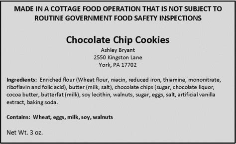 cottage food labels food labeling cottage foods