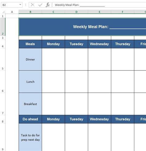 Download Free Excel Exles Downloadexceltemplate Com Meal Planner Template Excel
