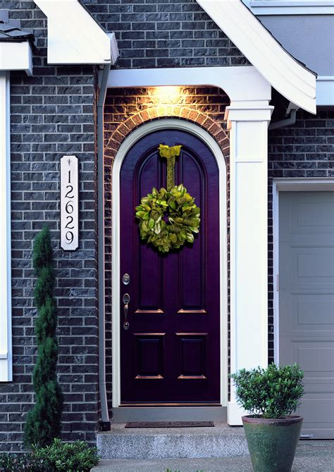 Purple Front Door | diy fall spruce up of your front door with color diy