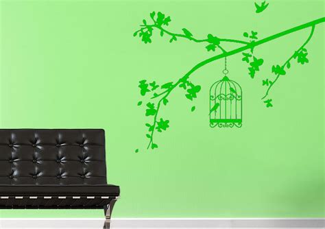 Bird Cage Wall Sticker Stiker 1 summer branch with bird cage forest wall stickers adhesive