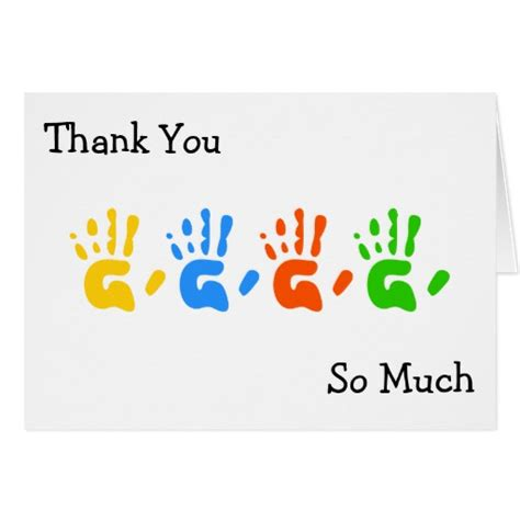 Handprint Birthday Cards Hand Prints Thank You So Much Greeting Card Zazzle