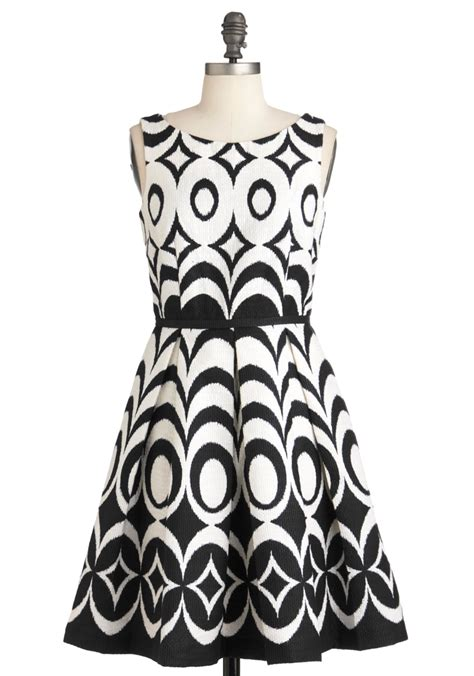 Black Retro Pattern Dress 25669 at every pattern dress in black waves mod retro vintage dresses modcloth