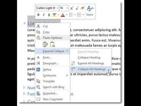 Sections Word 2013 by Word 2013 2016 Expand And Collapse Headings Sections In