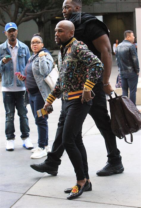 floyd mayweather wearing gucci floral bomber jacket