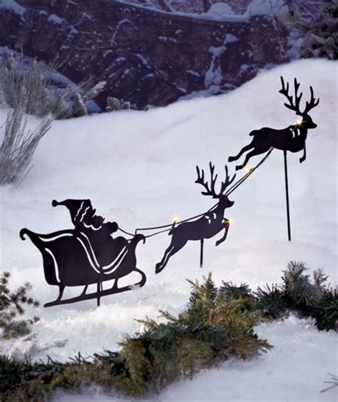solar power lighted outdoor santa and reindeer silhouettes