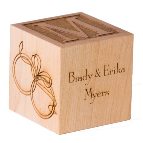 personalized anniversary gift wooden block engraved by