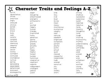 character traits and feelings a z book by laurie kraus tpt