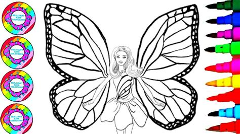 coloring barbie rainbow butterfly   jewels book