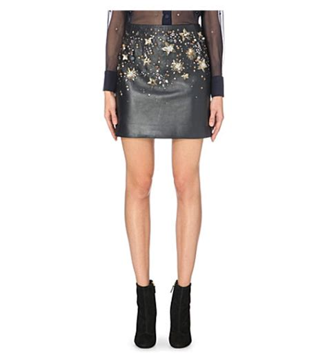 topshop constellation leather mini skirt selfridges