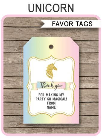 free printable unicorn tags unicorn favor tags template unicorn theme thank you tags