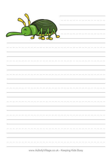 Printable Insect Writing Paper   pin handwriting lines teachers can find multiple uses for