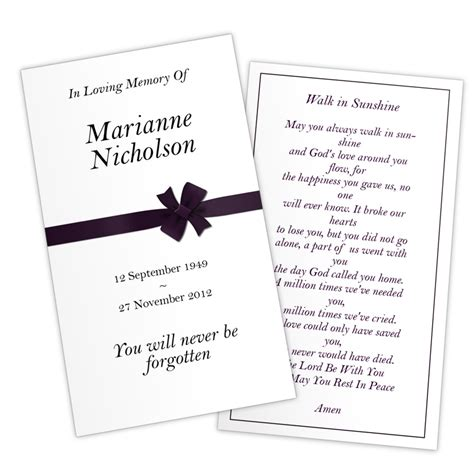 Funeral Memorial Prayer Cards Template by Funeral Prayer Cards Templates Free Quotes