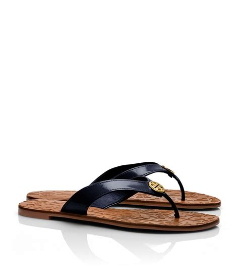 burch thora sandals burch patent thora 2 sandal in blue bright navy lyst