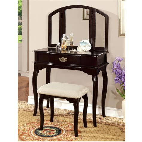 espresso vanity set with bench winnette espresso tri folding mirror makeup table vanity