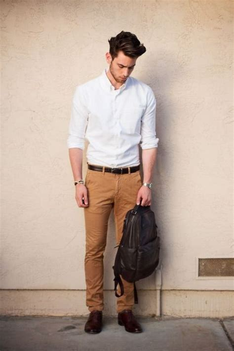 picture of ocher a white shirt brown leather shoes