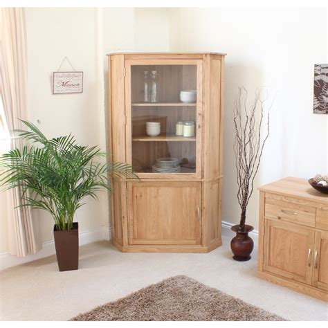 oak livingroom furniture mobel corner display cabinet cupboard glazed solid oak