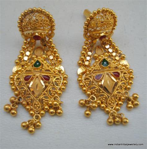 Indian Handmade Jewellery - ethnic 20k gold earrings handmade jewelry from rajasthan