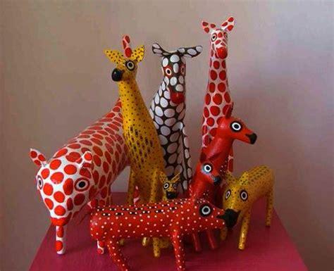 Paper Mache Animals - paper mache polka doted animals for