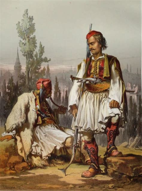19th Century Ottoman Empire Albanian Mercenaries In The Ottoman Army Mid 19th Century Lithography By Amadeo Preziosi 1816