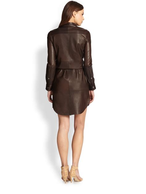 Fashion And Chocolate Womens Two by Leather Shirtdress In Brown Lyst