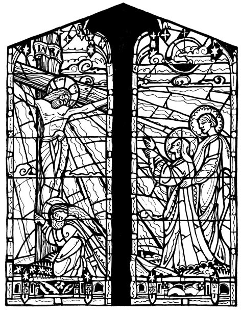 Medieval stained glass coloring pages download and print