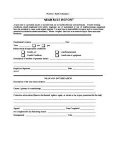 m e report template sle near miss report free