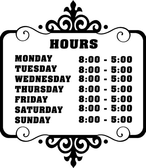 hours of operation template business hours sign template free images