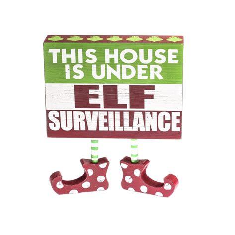 printable elf surveillance sign quot elf surveillance quot chunky wood block sign table decor