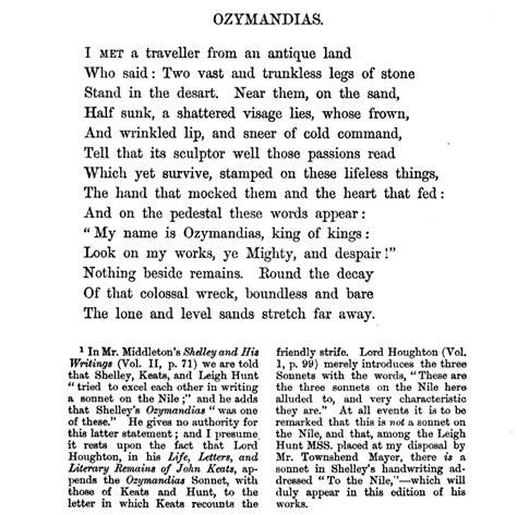 Ozymandias Poem Essay by Some Notes On Ozymandias The Era Of Casual Fridays