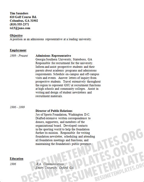 admissions representative resume template with skills and objectives