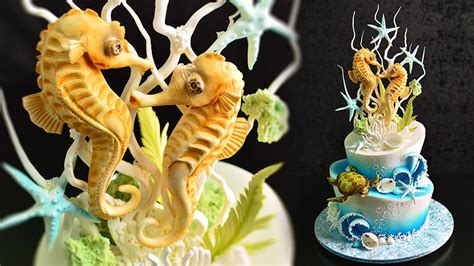 How To Make A Seahorse Out Of A Paper Plate - underwater cake with seahorse topper yeners way