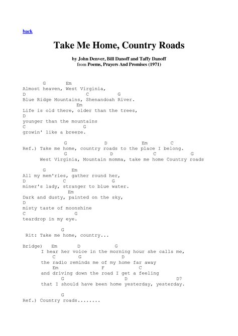 printable lyrics country roads john denver take me home country roads john denver guitar