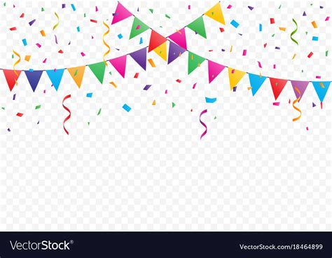colorful confetti colorful flags with confetti background royalty free vector