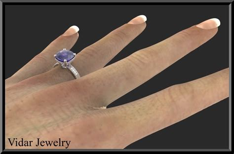 Blue Sapphire Big Size 3 blue sapphire and engagement ring vidar jewelry