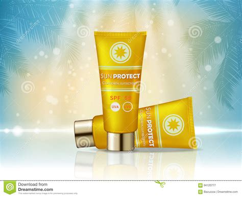product layout ad sunblock cosmetic products ad vector 3d illustration