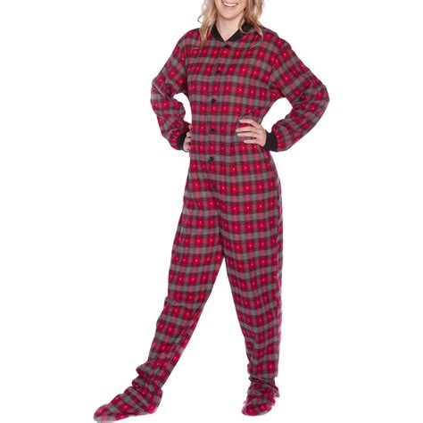 plaid pajamas big pajama co unisex grey hearts plaid cotton flannel footed pajamas ebay