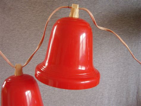 vintage noma lighted christmas bells red plastic 4ft cord