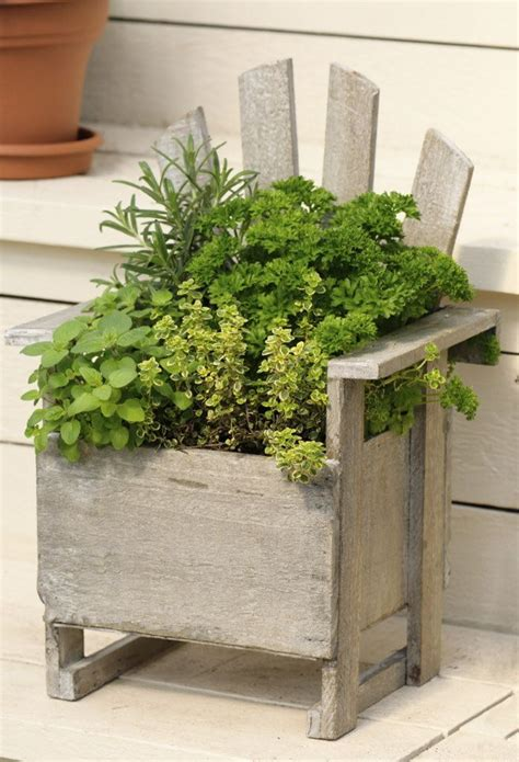 Herb Garden Ideas Pots 17 Best Ideas About Chair Planter On Garden