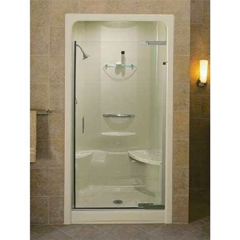 Kohler Glass Shower Doors Kohler Purist 42 In X 72 In Heavy Semi Frameless Pivot Shower Door In Vibrant Brushed Nickel