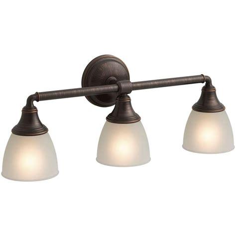 Kohler Devonshire Bathroom Lighting Kohler Devonshire 3 Light Rubbed Bronze Wall Sconce K 10572 2bz The Home Depot