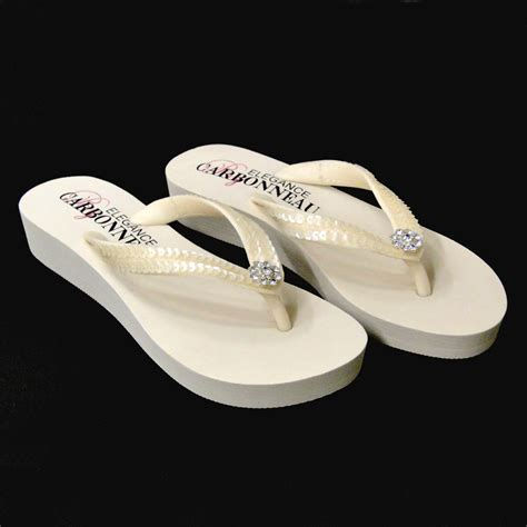 Ivory Wedge Flip Flops with Sequins & Swarovski Crystals
