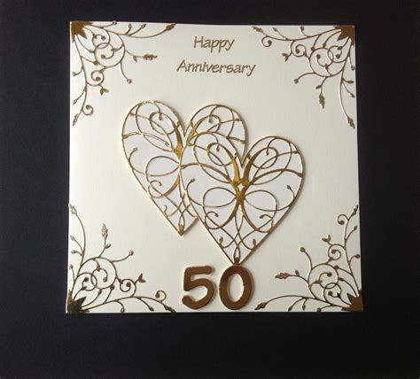 Handmade 50th Anniversary Cards - handmade golden wedding anniversary card 50th wedding