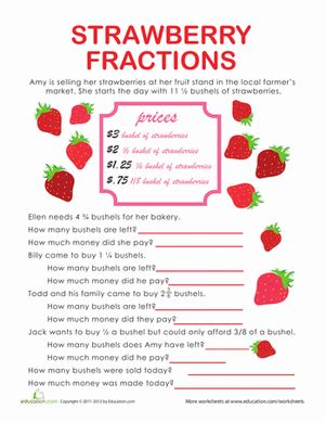 Fractions Word Problems Worksheets by Fraction Word Problems Strawberry Stand Worksheet